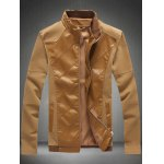 Zip Up Sleeve Buttons Design Leather Insert Jacket
