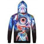 cheap Hooded 3D Abstract Eye Print Long Sleeve Hoodie
