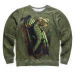 Round Neck 3D Abstract Chameleon Print Long Sleeve Fleece Sweatshirt