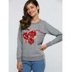 cheap Floral Embroidered Casual Sweatshirt