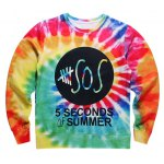 Round Neck 3D Colorful Letter Print Long Sleeve Fleece Sweatshirt
