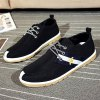 cheap Lace-Up Striped Pattern Color Splicing Canvas Shoes