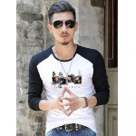 cheap Slim Fit Printed Round Neck Contrast Sleeve T-Shirt