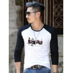 Slim Fit Printed Round Neck Contrast Sleeve T-Shirt deal