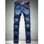 Zipper Fly Five-Pocket Straight Leg Jeans