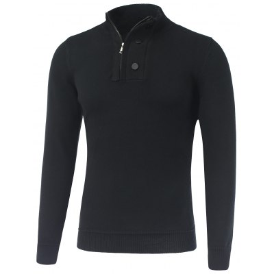 Stand Collar Ribbed Half-Zip Sweater
