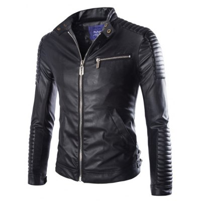 Stand Collar Zip-Up Moto PU-Leather Jacket