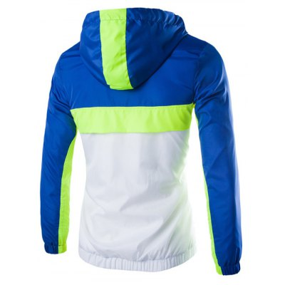 Color Block Splicing Hooded Zip-Up Polyester Jacket