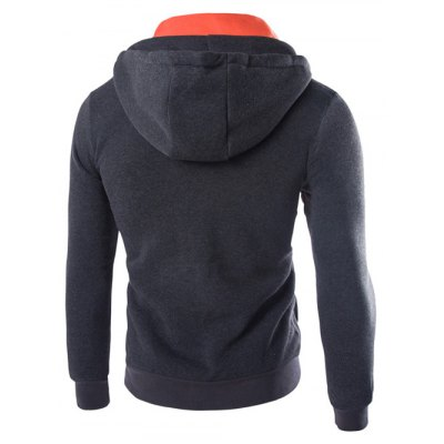 Faux Twinset Hooded Pockets Design Double Zip-Up Jacket