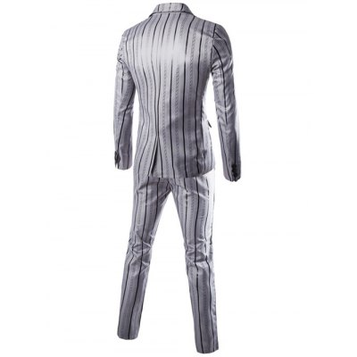 Lapel One Button Vertical Stripe Blazer + Pants Twinset Suits