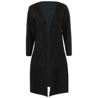 Collarless Double Pockets Coat