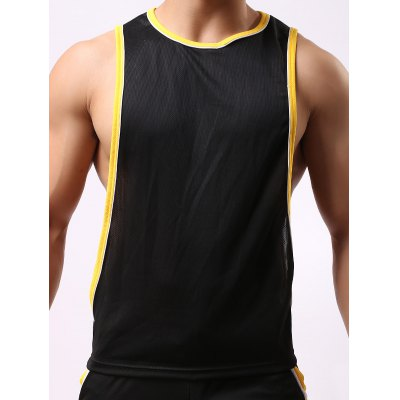Round Neck Edging Design Sports Tank Top