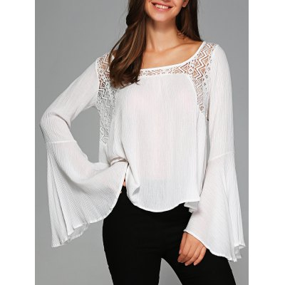 Bell Sleeve Openwork Blouse