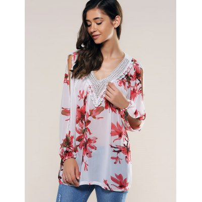 Lace Splicing Slit Sleeve Blouse