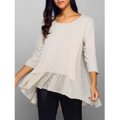 Round Neck Ruffle Hem Top