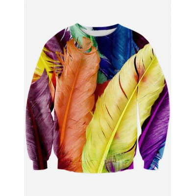 Feather 3D Print Long Sleeve Crew Neck Sweatshirt