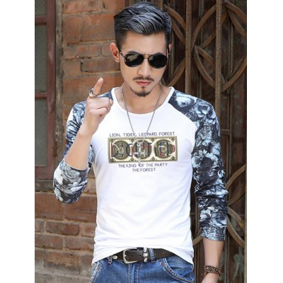 Floral Sleeve Graphic Pattern T-Shirt