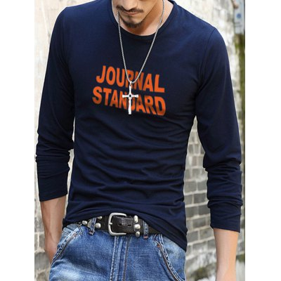 Brief Long Sleeve Letter Pattern T-Shirt