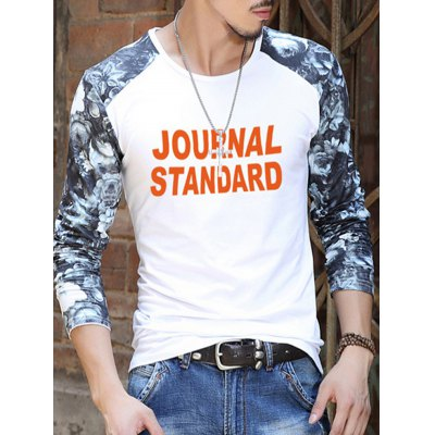 Floral Printed Sleeve Letter Pattern T-Shirt