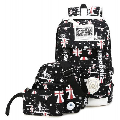 Canvas Stars Cross Print Backpack