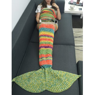 Colorful Striped Acrylic Knitting Mermaid Blanket