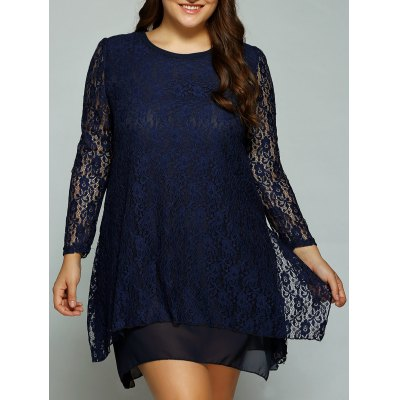 Layered Asymmetrical Lace Dress