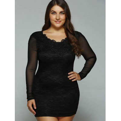 Mesh-Insert Bodycon Dress