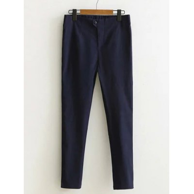 Buttoned High-Waisted Plus Size Slim Pants