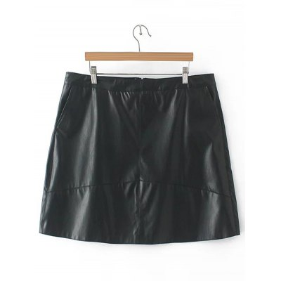Zipper Flying PU Leather Skirt