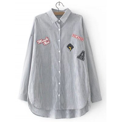 Striped Letter Applique Asymmetric Shirt