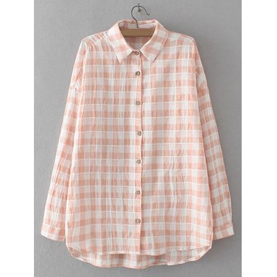 Plaid Asymmetric Buttoned Shirt
