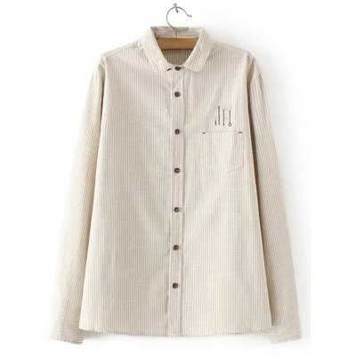 Embroidered Striped Buttoned Shirt