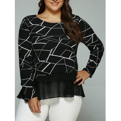 Geometric Print Splicing Blouse