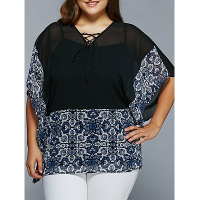 Plus Size Lace-Up Batwing Sleeve Blouse