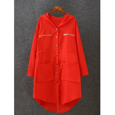 Plus Size Hooded Utility Coat