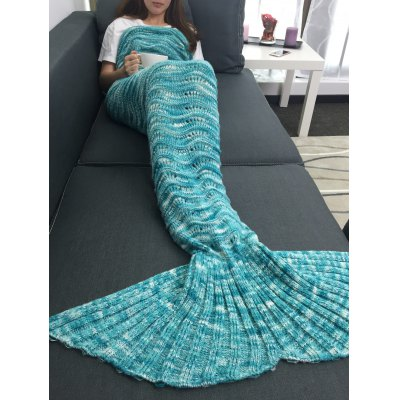 Warmth Openwork Design Acrylic Knitted Mermaid Tail Blanket