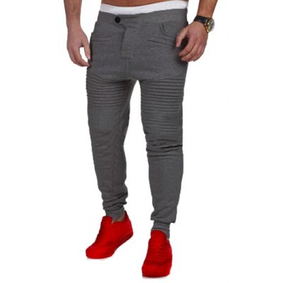 Casual Pleated Insert Buttoned Jogger Pants