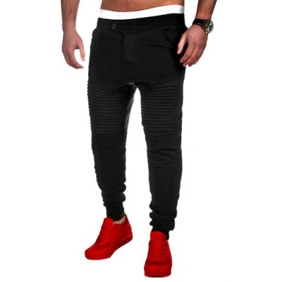 Buttoned Pleated Insert Jogger Pants