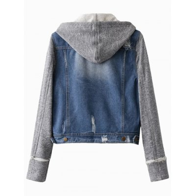 Hooded Denim JacketJackets &amp; Coats<br>Hooded Denim Jacket<br><br>Clothes Type: Jackets<br>Material: Polyester<br>Type: Wide-waisted<br>Clothing Length: Regular<br>Sleeve Length: Full<br>Collar: Hooded<br>Pattern Type: Others<br>Embellishment: Pockets<br>Style: Fashion<br>Season: Fall,Spring,Winter<br>Weight: 0.642kg<br>Package Contents: 1 x Jacket