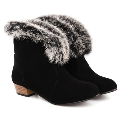 Low Heel Faux Fur Suede Ankle Boots