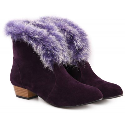Faux Fur Low Heel Ankle Boots