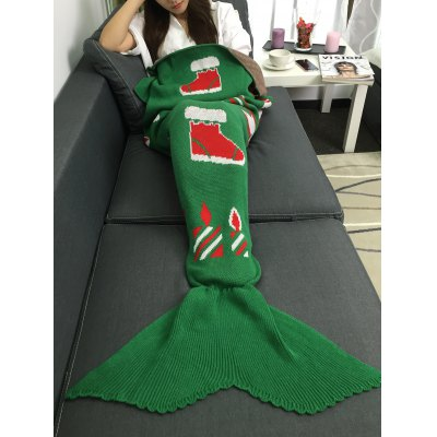 Christmas Gift and Snow Man Knitted Mermaid Tail Blanket