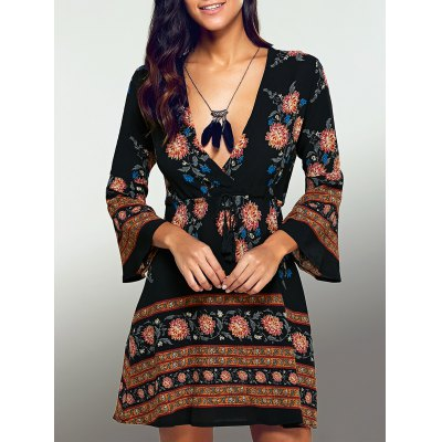 Plunging Neck 3/4 Sleeve Printed Dress