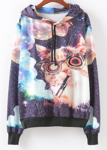Smoking Cat Print Patterned Hoodies