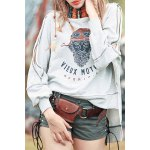 High Low Print Sweatshirt