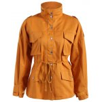 Casual Pocket Drawstring Field Jacket