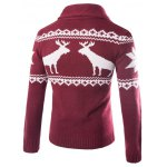 cheap Turn-Down Collar Ethnic Style Elk Print Single-Breasted Cardigan