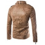 cheap Stand Collar Snake Pattern Zip-Up PU-Leather Jacket