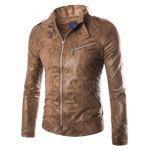 Stand Collar Snake Pattern Zip-Up PU-Leather Jacket