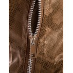 best Stand Collar Snake Pattern Zip-Up PU-Leather Jacket